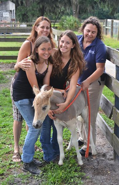 Jennifer, Sarah, Echo, and Dr. Martha Mallicote with colt Titan